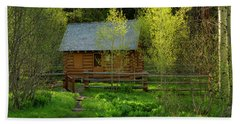 Bath Towel featuring the photograph Aspen Cabin by Leland D Howard