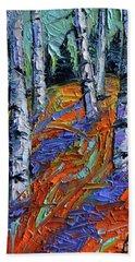 Aspen Forest Etude Modern Impressionist Palette Knife Oil Painting Bath Towel