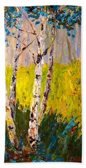 Hand Towel featuring the painting Aspen Spring by Alan Lakin