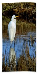 Assateague Island Great Egret Ardea Alba Hand Towel