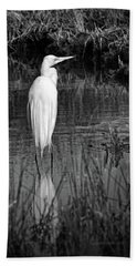 Assateague Island Great Egret Ardea Alba In Black And White Hand Towel