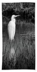 Assateague Island Great Egret Ardea Alba In Black And White Bath Towel