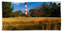 Assateague Lighthouse Reflection Bath Towel by Nick Zelinsky