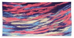 Bath Towel featuring the painting Associations - Sky And Clouds Collection by Anastasiya Malakhova