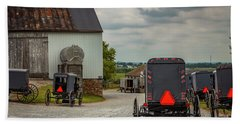 Assorted Amish Buggies At Barn Hand Towel