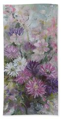 Hand Towel featuring the painting Asters And Stocks by Ryn Shell