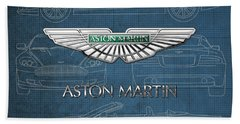 Aston Martin 3 D Badge Over Aston Martin D B 9 Blueprint Hand Towel