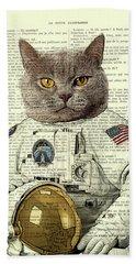 Astronaut Cat Illustration Bath Towel