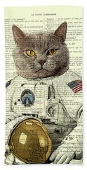 Astronaut Cat Illustration Bath Towel