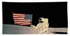 Astronaut With Us Flag On Moon Hand Towel by Nasa