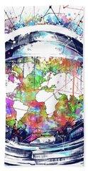 Astronaut World Map 6 Bath Towel