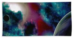 Astronomy Painting Glammed Out Teal Hand Towel