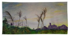Bath Towel featuring the painting At A Distance by Ron Richard Baviello