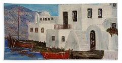 Bath Towel featuring the painting At Home In Greece by Marilyn  McNish