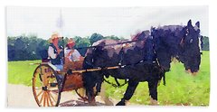 Horse And Buggy At Mount Vernon Hand Towel
