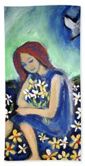 Bath Towel featuring the painting At Peace by Winsome Gunning