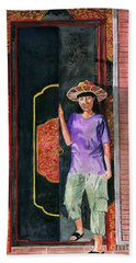 Bath Towel featuring the painting At Puri Kelapa by Melly Terpening