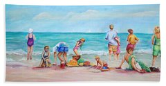 Hand Towel featuring the painting At The Beach by Patricia Piffath