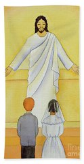 At Their First Holy Communion Children Meet Jesus In The Holy Eucharist Hand Towel