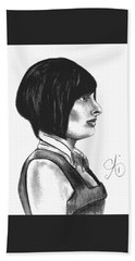 At Your Service - Bartender Art - Charcoal Drawing Illustration By Ai P. Nilson  Hand Towel