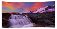 Hand Towel featuring the photograph Athabasca On Fire by Dan Jurak