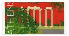 Athens Temple Of Olympian Zeus - Orange Hand Towel