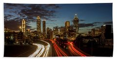Bath Towel featuring the photograph Atlanta Downtown Infusion Atlanta Sunset Cityscapes Art by Reid Callaway
