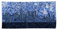 Atlanta Skyline Abstract Navy Blue Hand Towel