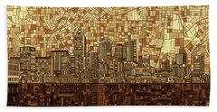 Atlanta Skyline Abstract Orange Bath Towel