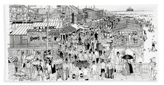 Atlantic City Boardwalk 1889 Bath Towel by Ira Shander