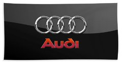 Audi 3 D Badge On Black Hand Towel by Serge Averbukh