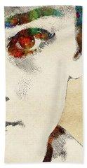 Audrey Half Face Portrait Hand Towel by Mihaela Pater