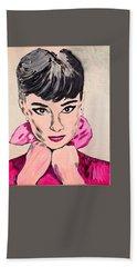 Audrey Hepburn Bath Towel by Valerie Ornstein