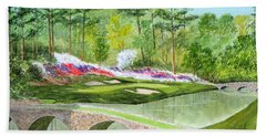 Augusta National Golf Course 12th Hole Bath Towel by Bill Holkham