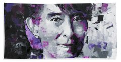 Hand Towel featuring the painting Aung San Suu Kyi by Richard Day