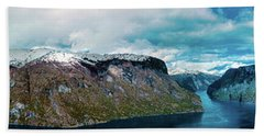 Aurlandsfjorden Panorama Revisited Bath Towel