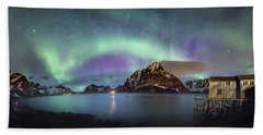 Aurora Above Reinefjord Hand Towel by Alex Conu