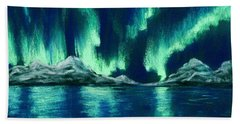Bath Towel featuring the pastel Aurora Borealis by Anastasiya Malakhova