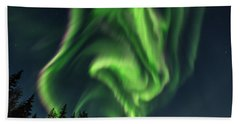 Aurora Borealis In Fairbanks Alaska Hand Towel
