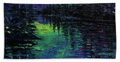 Aurora Borealis Mirage Textural Impressionist Impasto Landscape Palette Knife Oil Painting Hand Towel