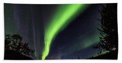 Aurora Borealis, Norther Lights In Denali National Park Hand Towel