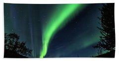 Bath Towel featuring the photograph Aurora Borealis Northern Lights At Kantishna In Denali National Park by Brenda Jacobs