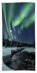 Bath Towel featuring the photograph Aurora Borealis Over Blafjellelva River by Arild Heitmann