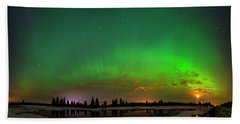 Aurora Over Pond Panorama Hand Towel