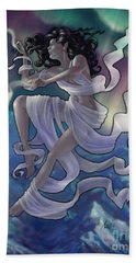Hand Towel featuring the digital art Aurora Weaver by Amyla Silverflame