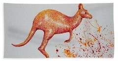 Hand Towel featuring the painting Aussie Roo by Tamyra Crossley