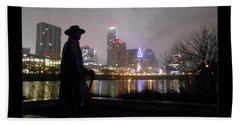 Austin Hike And Bike Trail - Iconic Austin Statue Stevie Ray Vaughn - One Greeting Card Poster Hand Towel by Felipe Adan Lerma