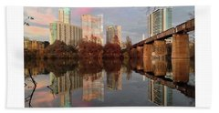 Austin Hike And Bike Trail - Train Trestle 1 Sunset Left Greeting Card Poster - Over Lady Bird Lake Bath Towel