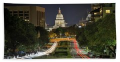 Bath Towel featuring the photograph Austin Light Trails by Tim Stanley