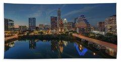Austin Skyline At Night 7-4 Hand Towel by Rob Greebon